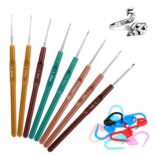 8 Small Sizes Crochet Hooks Set, 0.65mm - 2.5mm Ergonomic Soft Handle Crochet Lace Hooks with Adjustable Knitting Loop Ring, Locking Stitch Markers for Arthritic Hands DIY Knitting