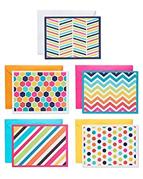 American Greetings Blank Cards with Envelopes Bright Patterns  30-Count