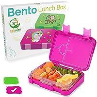TAKWAY Kinder Brotdose mit Fächern (variabel 4 oder 6) | Einhorn Motiv | robuste Bento Box | Kindergarten Lunchbox mit Unterteilungen (pink)