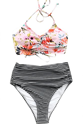 CUPSHE Women's This is Love High Waisted Lace Up Halter Bikini Set, Pink, Large
