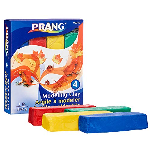 Prang Modeling Clay Set, 4 Colored Clay Blocks per Set, 0.25 Pounds Each, Red, Yellow, Green and Blue (00740)