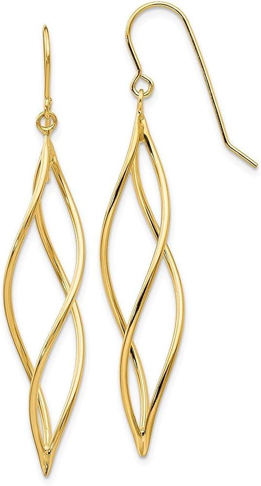 14k Yellow Gold Long Twisted Drop Dangle Chandelier Earrings Fine Jewelry For Women Gifts For Her