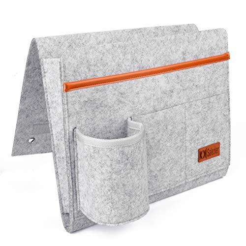 KK|Salecker Betttasche mit Flaschenhalter - Organizer aus Filz zum Einhängen - Sofa Bett Aufbewahrung - praktische Bettablage und Aufbewahrungstasche