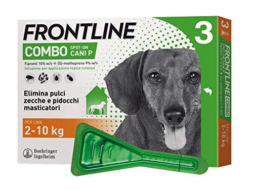 Frontline Combo, 3 Pipette, Cane Taglia S (2 - 10 Kg), Antiparassitario per Cani e Cuccioli di Lunga Durata, Protegge il Cane e Anche la Casa da Pulci, Zecche, Uova e Larve, Antipulci 3 Pipette