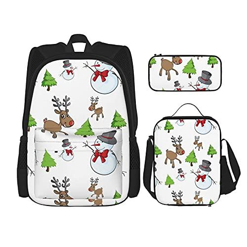 Kerst Winter Patroon Beste Gift Voor Studenten 3 In 1 Set Waterbestendig Rugzakken/Grote Capaciteit Potlood Cases…