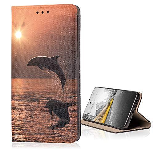 KX-Mobile Hülle für Samsung Galaxy S3 / S3 Neo Handyhülle Smart Magnet mit Motiv 1028 Delfin Sonnenuntergang