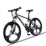 Bicicleta Montaña Hombre 26 Pulgadas, Mountain Bike con Suspensión Frenos y Doble Disco, Bicicletas de Carretera Marco de Acero de Alto Carbono,Negro,27 Speed