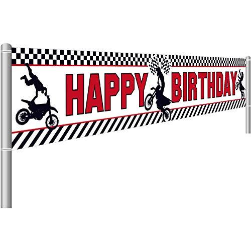 Huge Motocross Happy Birthday Banner, Motocross Birthday Banner Indoor Outdoor Birthday Decorations Dirt Bike Racing Birthday Banner Motocross Birthday Decoration, 250 x 45 cm, 98.4 x 17.7 Inch