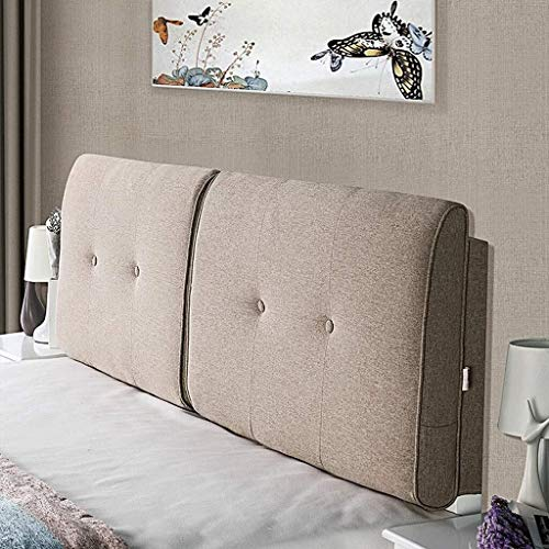 B-fengliu Lesekissen-weiche Kissen-Kopfteil Nachttisch Rückenlendenkissen gepolstert mit Doppel Kissen, 3 Größen, 3 Farben (Color : Khaki, Size : 180x58 cm)