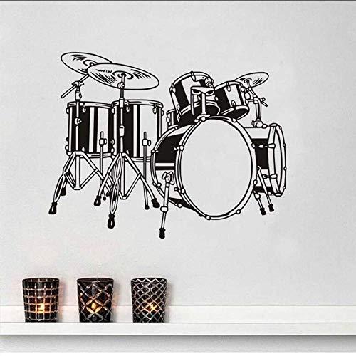 Schlagzeug Set Wandtattoos Kinder Schlafzimmer Wanddekoration Vinyl Abnehmbarer Kleber Home Decor Band Musik Wandaufkleber 74 * 58Cm