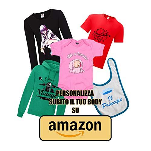 Body per Neonato - Tutina Linea Baby Manica Corta Personalizzabile con Testo o Foto, 100% Cotone - Personalizzazione Inclusa - Taglia: 12-18 Mesi, Colore: Blu