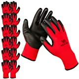 ACKTRA Ultra-Thin Polyurethane (PU) Coated Nylon Safety WORK GLOVES 12 Pairs, Knit Wrist Cuff, for Precision Work, for Men & Women, WG002 Red Polyester, Black Polyurethane, Small