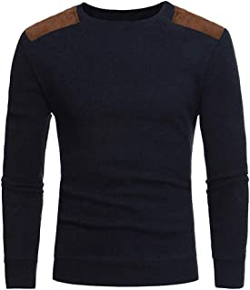Men's Casual Sweater Long Sleeve Knitted T Shirt Fashion Patch Cloth O Neck Pullover Tops
