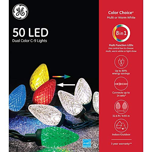 GE - Color Choice C9 50 LED Dual Color Christmas String Lights - 32' Feet