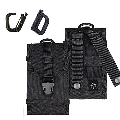 MOLLE Tactical Pouch Army Waist Holster Cell Phone Bag for iPhone 7 Plus Android Belt Clip Grimloc Locking D-Ring