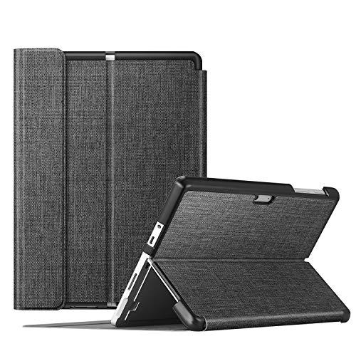 Fintie Schutzhülle für Surface Go 2 2020/ Surface Go 2018 10 Zoll Tablet - Business Hülle mit Harter Schale, anpassbarer Betrachtungswinkel, kompatibel mit der Type Cover Tastatur, Stoff dunkelgrau