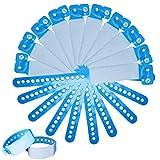SwirlColor Pulseras Identificacion para Adultos, Muñequeras Desechables para Eventos PVC para Adolescentes Pulsera de identificación Seguridad - 100 Pieza (Adulto, Azul)