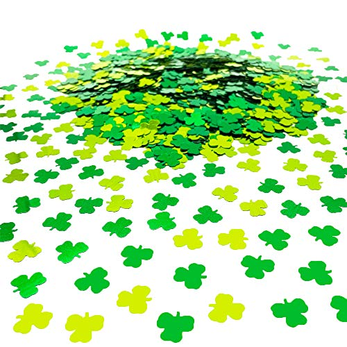 St. Patrick's Day Event Party Supplies Confetti Shamrock Sprinkles Lucky Irish Clover Festive Table Scatters for Party Decoration DIY Arts and Crafting Metallic Foil Confetti Green 1.6OZ/Package
