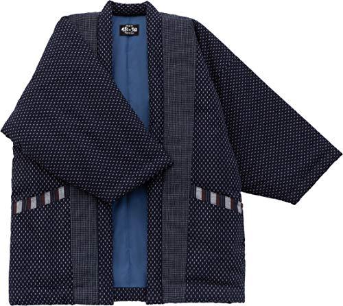 WATANOSATO Hail Pattern Hanten (chaqueta de algodón hecha en Japón estilo kimono) para hombre Azul azul marino XL