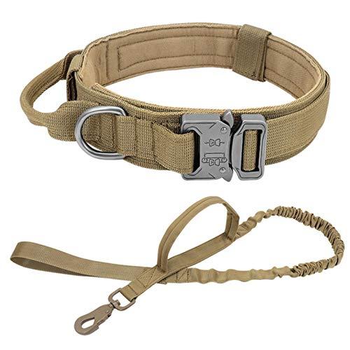 Collar táctico Militar para Perros, Correa, Collares para Perros medianos y Grandes, para Entrenamiento para Caminar, Collar para Perros, Juego Amarillo, XL