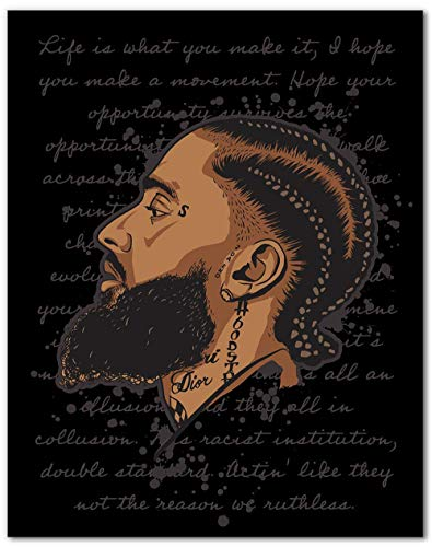 Nipsey Hussle Inspired Art Drawing Wall Art Print - Original Artwork - Hip Hop Rap Posters - 8x10 - Unframed
