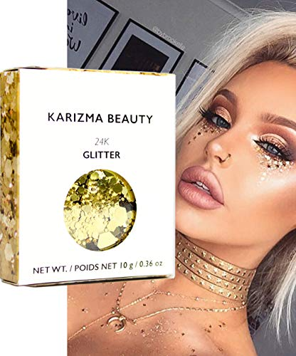24K Gold Chunky Glitter ✮ KARIZMA BEAUTY ✮ 10g Festival Glitter Cosmetic Face Body Hair Nails