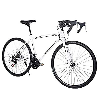Lightweight high Carbon Steel Road Bike, Begasso Shimanos Aluminum Full Suspension Road Bike 21 Speed Disc Brakes, 26 inch Durable Road icycles, 700c Tire, Mens/Womens Advanced Suspension,US Stock