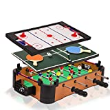Point Games 3 in 1 Small Multi Game Set, Foosball, Air Hockey, Table Tennis - Portable Mini Arcade Table for...