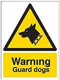 vsafety 6e014an-s'perros de guardia de advertencia señal de seguridad, vinilo autoadhesivo, vertical, 150mm x 200mm), color negro/amarillo
