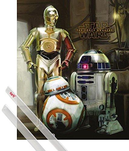 1art1 Star Wars Mini-Poster (50x40 cm) Das Erwachen Der Macht Episode VII, BB-8, R2-D2, C-3-PO Droiden Inklusive EIN Paar Posterleisten, Transparent