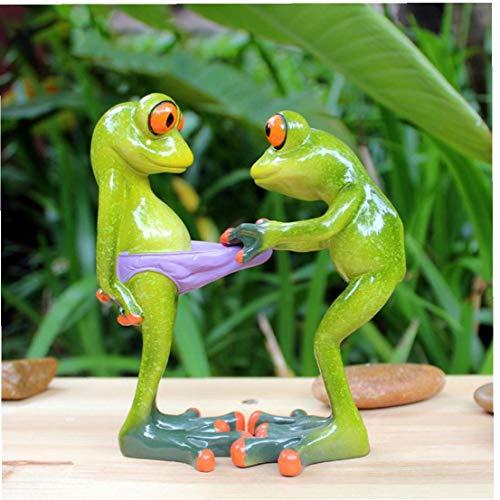 lujiaoshout Harz Frosch Ornamente Grüner Frosch Figurine Neuheit Harz-Tier Frosch Statue für Innenministerium-Schreibtisch-Dekoration