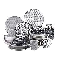vancasso haruka servizi di piatti 40 pezzi stile giapponese in premium porcellana con piatti piani piatti fondi tazze da tè mug scodella ciotole per cereali piatti frutta