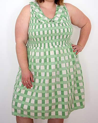 The Drop Women's Smoke Green Check Print Peter Pan Collar Smocked Dress by @itsmekellieb