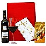 Geschenkset Mailand | Geschenkkorb mit Rotwein und Lindt Pralinen | Wein Präsentkorb italienisch für Frauen & Männer