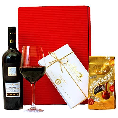 Geschenkset Mailand | Geschenkkorb gefüllt mit Rotwein & Lindt Pralinen | Wein und Schokolade Präsentkorb für Frauen & Männer