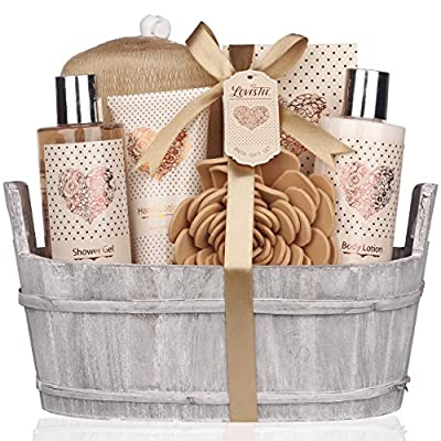 Spa Gift Basket - Bath and Body Set with Vanilla Fragrance by Lovestee - Bath Gift Basket Includes Shower Gel, Body Lotion, Hand Lotion, Bath Salt, Eva Sponge and a Bath Puff