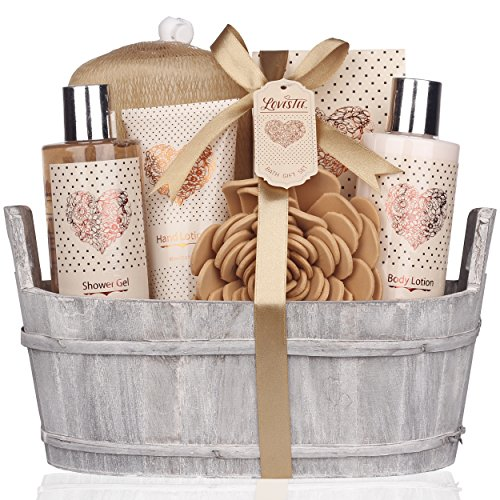 Spa Gift Basket – Bath and Body Set with Vanilla Fragrance by Lovestee  Bath Gift Basket Includes Shower Gel Body Lotion Hand Lotion Bath Salt Eva Sponge and a Bath Puff