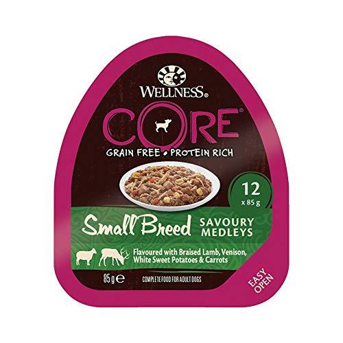 Wellness CORE Small Breed Savoury Medleys, Hundefutter nass getreidefrei für kleine Rassen, hoher Fleischanteil, Lamm, Wild, Weiße Süßkartoffeln und Möhren, 12 x 85 g