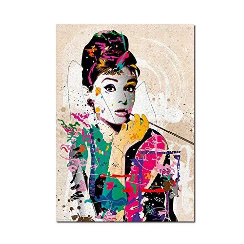 Audrey Hepburn (Audrey Hepburn) moderne abstrakte Ölgemälde Poster drucken Leinwand Malerei Wandkunst modulare Wandbild für Schlafzimmer nach Hause rahmenlose dekorative Malerei A98 30x40cm