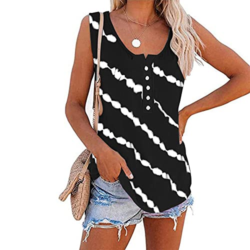 Sommer Damen Rundhalsausschnitt LäSsig Gestreifte Knopf äRmellose T-Shirt Weste