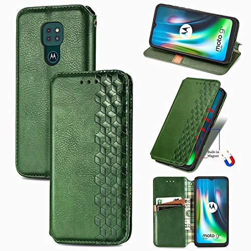 TOPOFU Leder Folio Hülle für Motorola Moto G9 Play, Premium PU/TPU Flip Wallet Tasche mit Kartenfächern, Magnetic, Book Style Lederhülle Handyhülle Schutzhülle (Grün)