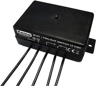 Kemo M122 Dämmerungsschalter 12 V/DC. Automatisches Ein  und Ausschalten bei Dämmerung / Tagesanbruch. Schaltausgang Relais 1x UM max. 3 A. Lichtstärke Empfindlichkeit veränderbar