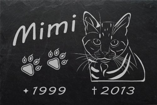 """Schiefertafel mit wetterfester Lasergravur des Motives \""""Katze-004\"""" und Ihrem Text/Daten in der gewünschten Schriftart z.B. als Grabstein auf das Grab oder als Gedenkstein für Zuhause von LaserArt24"""
