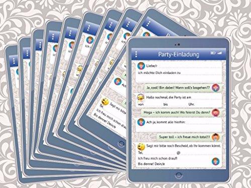 Lustige Tablet-Einladungskarten Set (10730) mit WhatsApp-Nachricht und Smileys (Emojis) zum Kindergeburtstag von EDITION COLIBRI © - umweltfreundlich, da klimaneutral gedruckt (10)