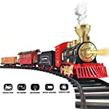 Train Set - 2020 Updated Electric Train Toy for Boys w/ Smokes, Lights &Sound, Railway Kits w/ Steam Locomotive Engine, Cargo Cars & Tracks, Birthday Gifts for 4 5 6 7 8 Years Old Kids