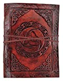 Kooly Zen – Cuaderno de notas, diario, libro, piel auténtica, vintage, cuerno de Odin, 13 x 17 cm, 240 páginas, papel premium
