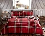 100% flanella di cotone spazzolato scozzese piumone/copripiumino & federe Bedding–extra resistente e pilling free, Red, Doppio