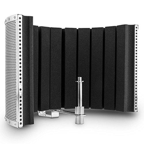 auna MP32 MKII Mikrofon Akustik Schirm (Schall-Absorber, Diffusor gegen Reflexionen für Studiomikrofone, inkl. Adapter) silber
