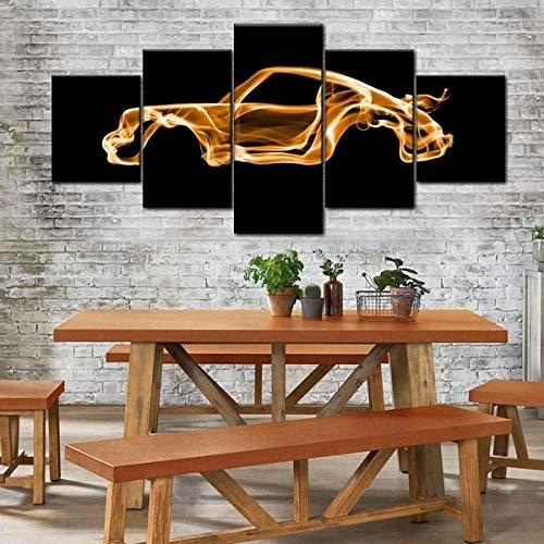 VKEXVDR Impresión HD Pintura 5 Partes Porsc 911 Turbo Mural no Tejido Impresión Moderno Ilustraciones,para casa Decoración Innovador Regalo
