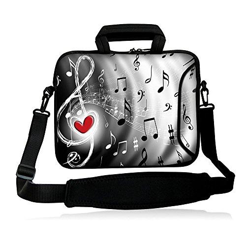 "icolor 12"" 13"" Laptop Shoulder Bag Case Universal Netbook Messenger Cover Sleeve Carrying Holder w/strap Compatible 12.5""~13.3 inch Notbook Computer Tablet-red heart"